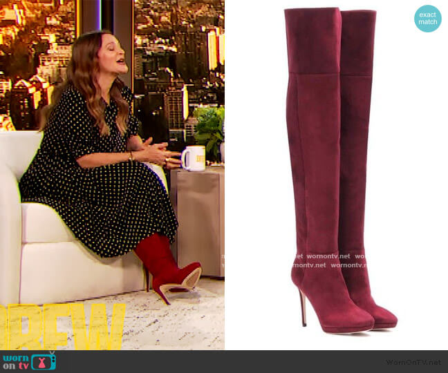 Haley 100 over the knee Suede Boots by Jimmy Choo worn by Drew Barrymore  on The Drew Barrymore Show