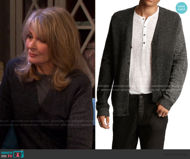 Herringbone Easy-Fit Cardigan by John Varvatos worn by Marlena Evans (Deidre Hall) on Days of our Lives