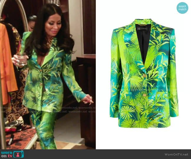 Jungle Print Blazer by Versace worn by Jen Shah  on The Real Housewives of Salt Lake City