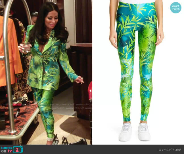 Jungle Print High Waist Leggings by Versace worn by Jen Shah  on The Real Housewives of Salt Lake City