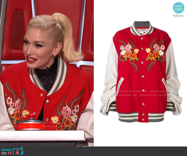 Embroidered Wool-Blend Bomber Jacket by Junya Watanabe worn by Gwen Stefani  on The Voice