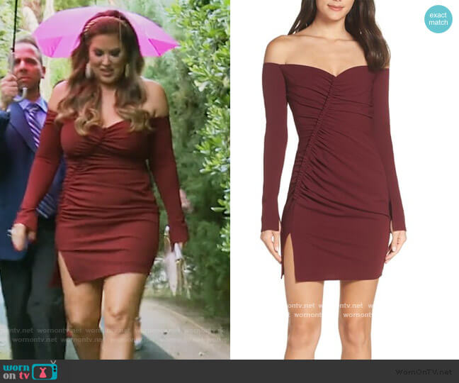 Off the Shoulder Ruched Cocktail Sheath by Katie May worn by Emily Simpson  on The Real Housewives of Orange County