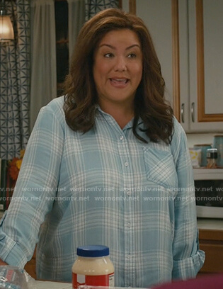 Katie's blue plaid shirt on American Housewife