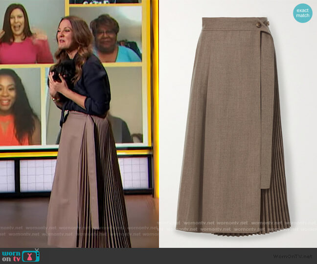 Pleated wrap wool midi skirt by LVIR worn by Drew Barrymore  on The Drew Barrymore Show