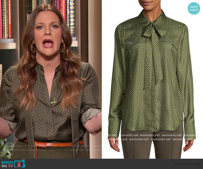 Diana Abstract Silk Tieneck Blouse by Lafayette 148 worn by Drew Barrymore  on The Drew Barrymore Show