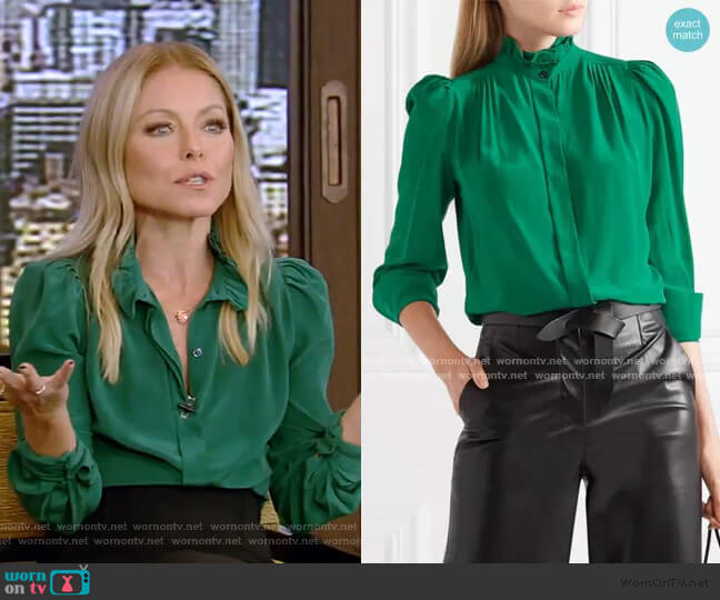 Lamia Ruffle-Trimmed Silk Blouse by Isabel Marant worn by Kelly Ripa  on Live with Kelly & Ryan