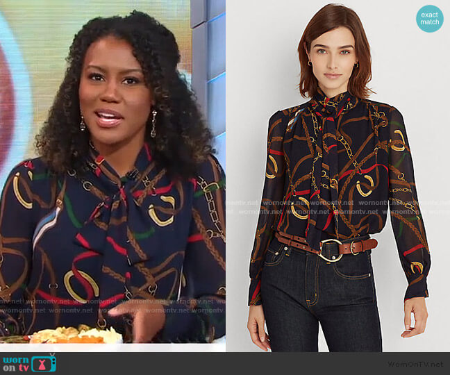 Print Georgette Tie-Neck Top by Ralph Lauren worn by Janai Norman  on Good Morning America