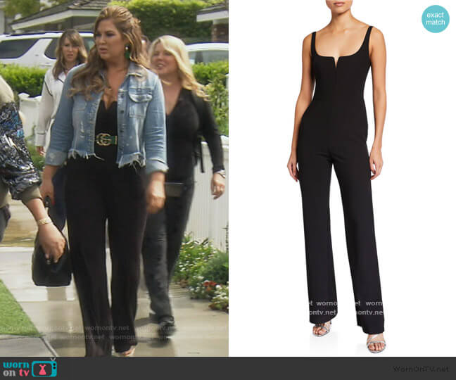 Constance Sleeveless Straight-Leg Jumpsuit by Likely worn by Emily Simpson  on The Real Housewives of Orange County