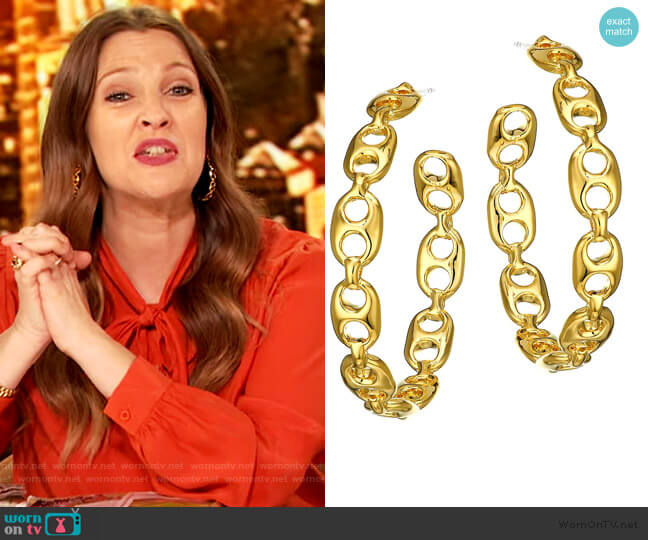 18K Yellow Goldplated Chain Link Hoop Earrings by Lizzie Fortunato worn by Drew Barrymore  on The Drew Barrymore Show