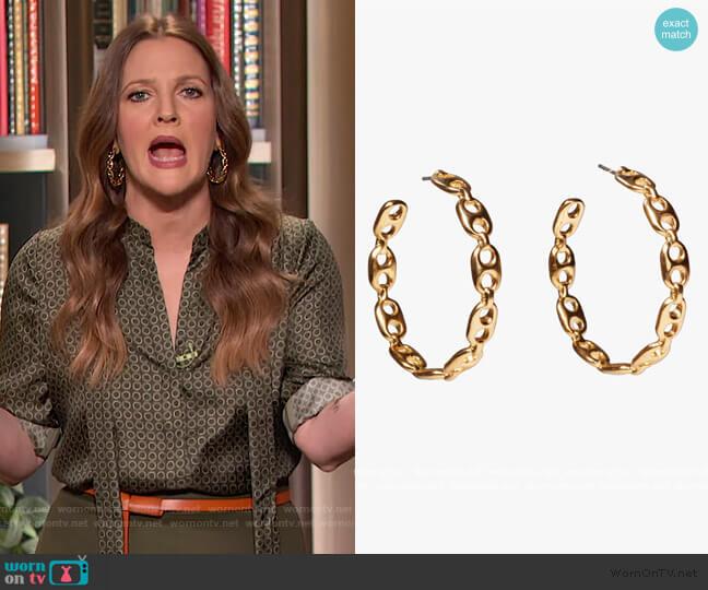 Chain Link Hoop Earrings by Lizzie Fortunato worn by Drew Barrymore  on The Drew Barrymore Show