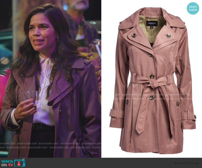 Adobe Hooded Trench Coat by London Hog worn by Amy (America Ferrera) on Superstore