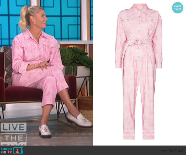 Morellia tie-dye corduroy jumpsuit by Love Shack Fancy worn by Amanda Kloots on The Talk worn by Amanda Kloots  on The Talk
