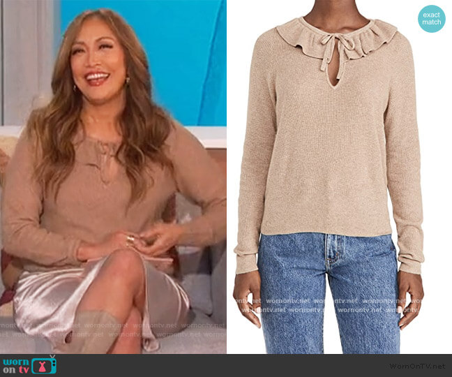 Catherine Ruffle Tie Neck Sweater by Madewell worn by Carrie Inaba  on The Talk