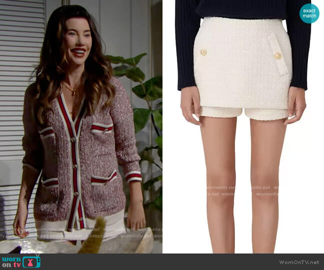 Maje Iandra Layered Tweed Skort worn by Steffy Forrester (Jacqueline MacInnes Wood) on The Bold & the Beautiful