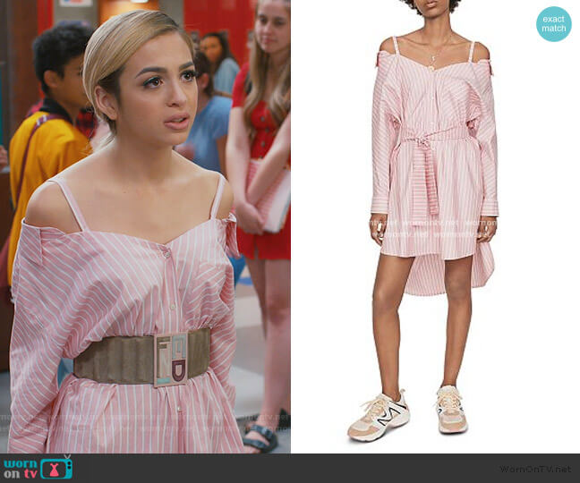 Riami Striped Cold-Shoulder Shirt Dress by Maje worn by Lexi (Josie Totah) on Saved By The Bell