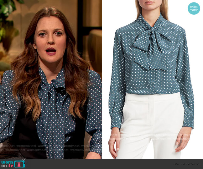 Bali Polka-Dot Silk Tieneck Blouse by Max Mara worn by Drew Barrymore  on The Drew Barrymore Show