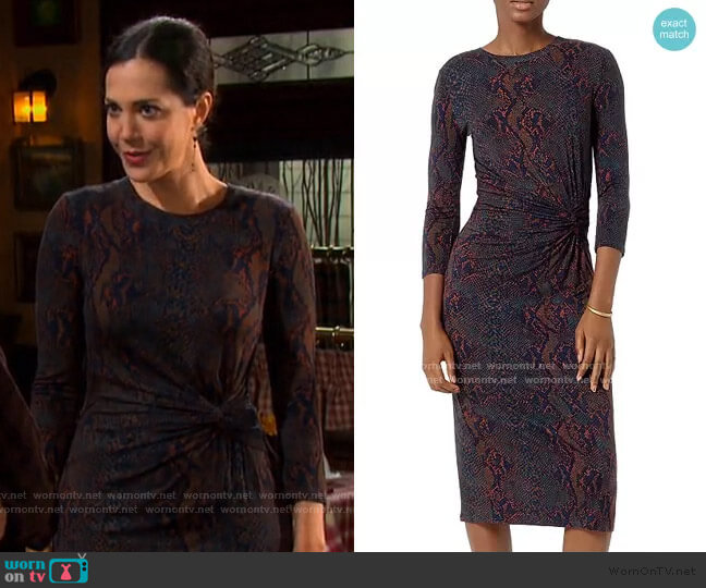 Meika Snakeskin Print Gathered Midi Dress by Joie worn by Jan Spears (Heather Lindell) on Days of our Lives