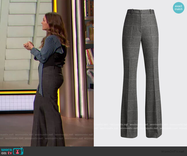 Charlie Glen Plaid Flare-Leg Pants by Michael Kors worn by Drew Barrymore  on The Drew Barrymore Show