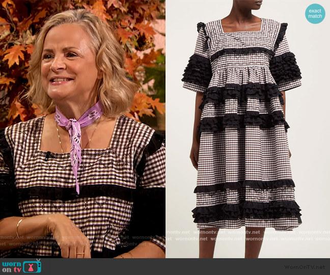 Elodie ruffled gingham-cotton midi dress by Molly Goddard worn by Amy Sedaris on The Drew Barrymore Show