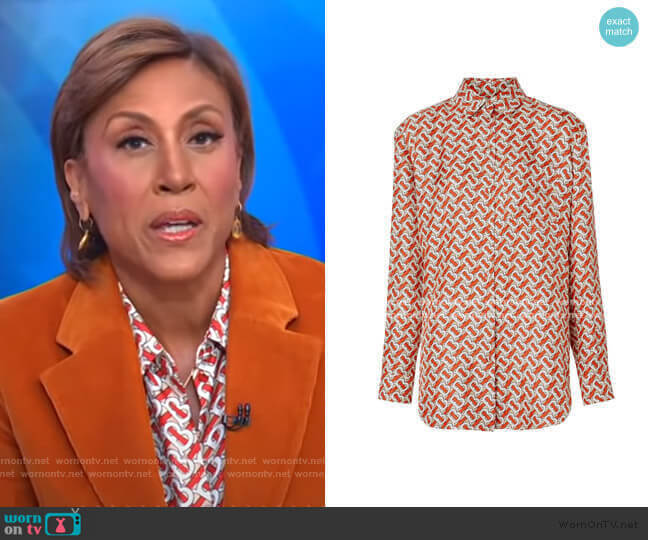 Monogram Print Shirt by Burberry worn by Robin Roberts  on Good Morning America