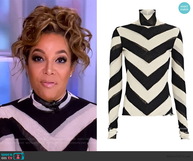 Harri Printed Mesh Turtleneck Top by Nanushka worn by Sunny Hostin  on The View
