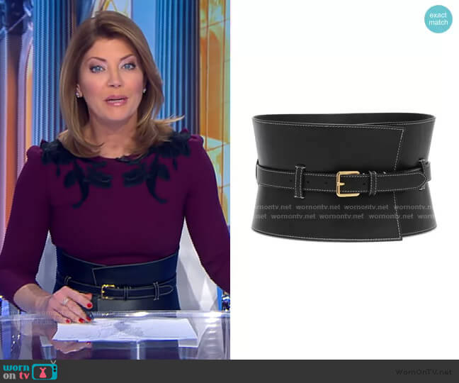 Obie Leather Corset Belt by Altuzarra worn by Norah O'Donnell  on CBS Evening News