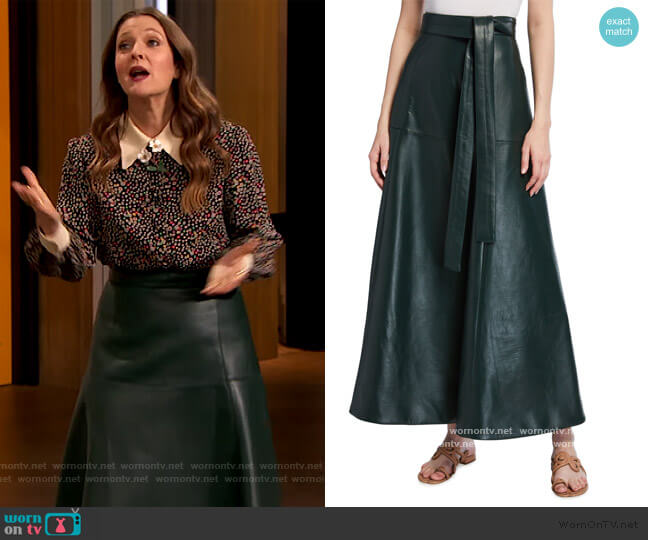 Long Leather Skirt by Oscar de la Renta worn by Drew Barrymore  on The Drew Barrymore Show