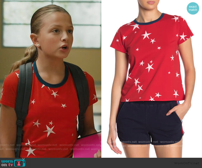 Star Print Logo Crop Ringer Tee by Pam and Gela worn by Anna-Kat Otto (Giselle Eisenberg) on American Housewife