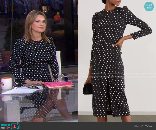 Polka-Dot Crepe Midi Dress by RED Valentino worn by Savannah Guthrie  on Today