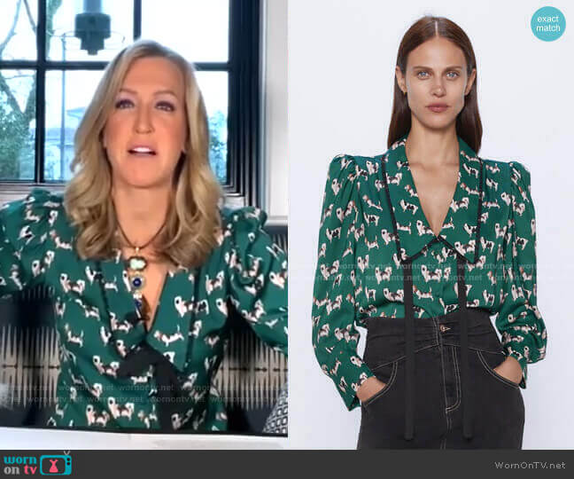 Printed Blouse with Scoop Neck by Zara worn by Lara Spencer  on Good Morning America