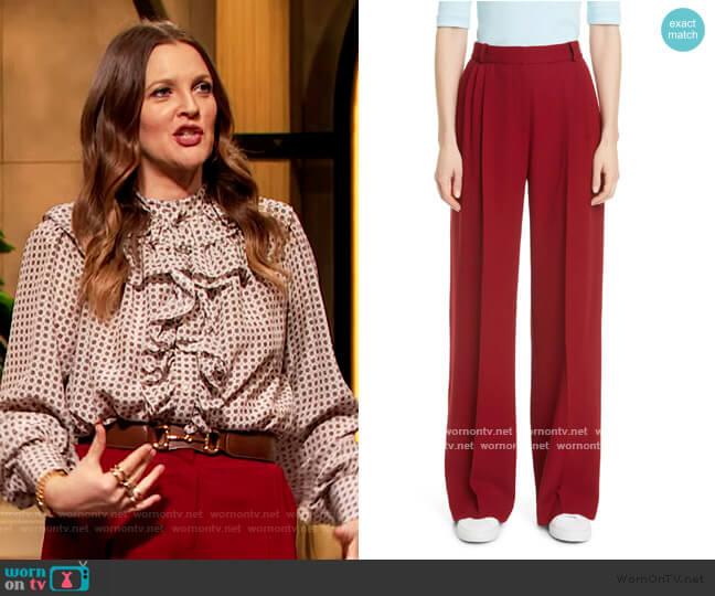 Pleated Wide Leg Wool Trousers by Rosetta Getty worn by Drew Barrymore  on The Drew Barrymore Show