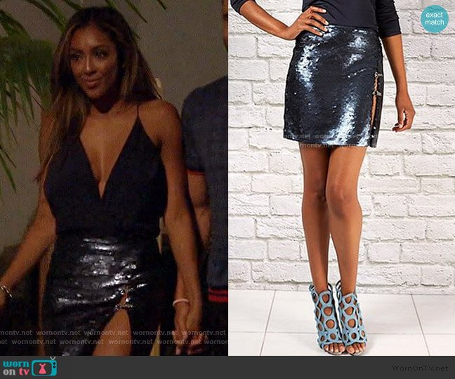 Sly Sequin Mini Skirt by Randi Rahm worn by Tayshia Adams  on The Bachelorette