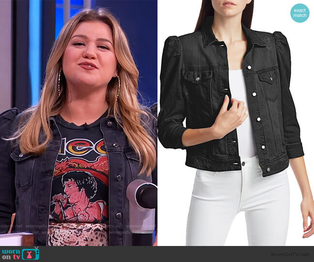 Ada Puff-Sleeve Distressed Denim Jacket by Retrofete worn by Kelly Clarkson  on The Kelly Clarkson Show