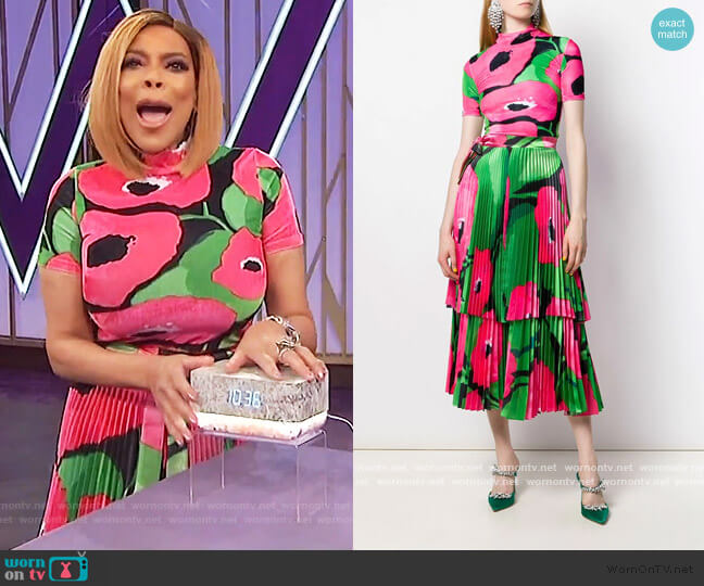 Poppy print top by Richard Quinn worn by Wendy Williams  on The Wendy Williams Show