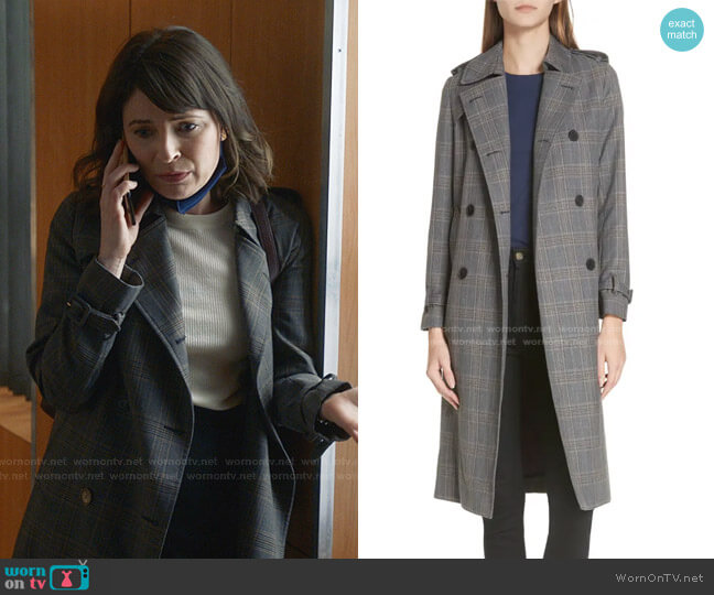 Roselier Plaid Trench Coat by Sandro worn by Taylor Rentzel (MacKenzie Meehan) on Bull