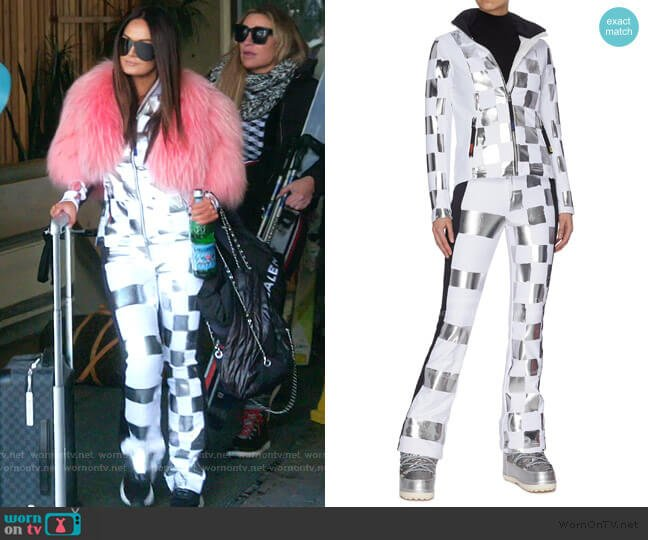 Wari Metallic Check Soft Shell Ski Jacket and pants by Rossignol worn by Lisa Barlow  on The Real Housewives of Salt Lake City