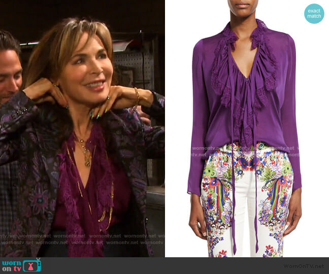 Ruffled Self-Tie Silk Blouse by Roberto Cavalli worn by Kate Roberts (Lauren Koslow) on Days of our Lives