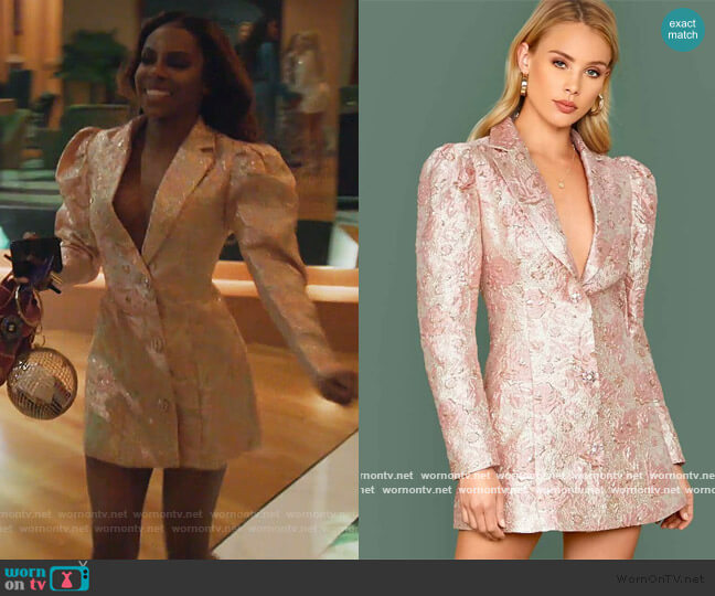 Notched Collar Floral Jacquard Blazer Dress by Shein worn by Candiace Dillard Bassett  on The Real Housewives of Potomac