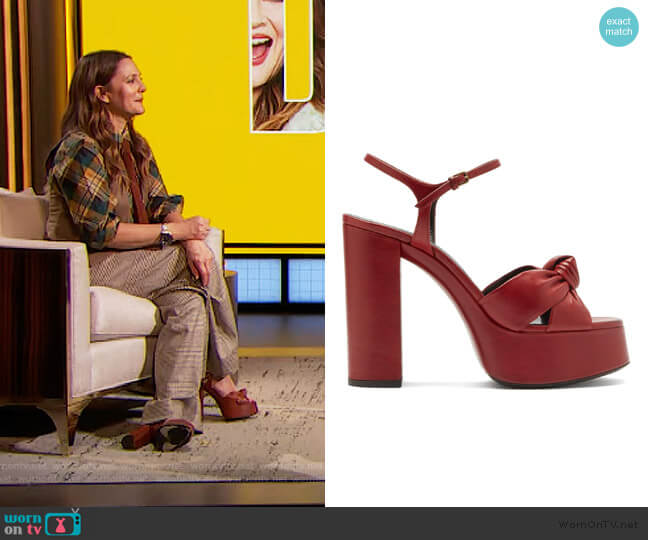 Bianca knotted leather platform sandals by Saint Laurent worn by Drew Barrymore  on The Drew Barrymore Show