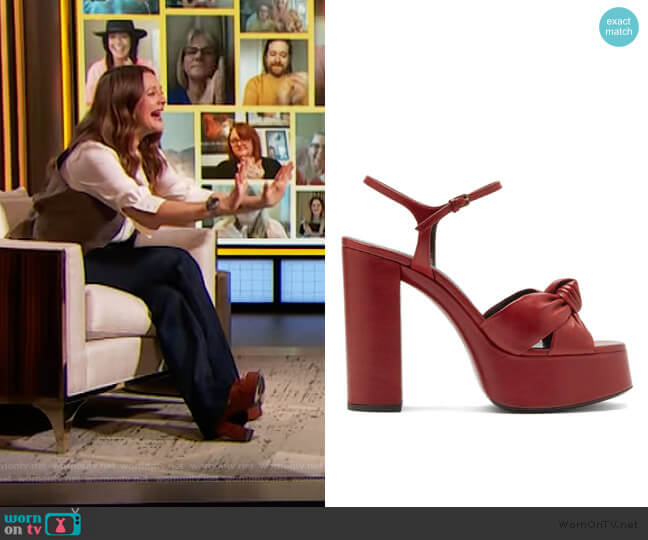 Bianca knotted leather platform sandals Saint Laurent worn by Drew Barrymore  on The Drew Barrymore Show