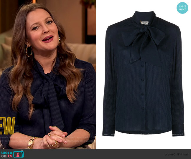 Pussy Bow Detail Shirt by Saint Laurent worn by Drew Barrymore  on The Drew Barrymore Show