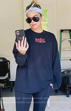 Khloe's black Saint Pablo tee and leggings on Keeping Up with the Kardashians
