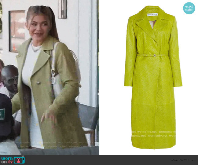 Green Metal Belted Ostrich-effect Leather Coat by Saks Potts worn by Kylie Jenner  on Keeping Up with the Kardashians