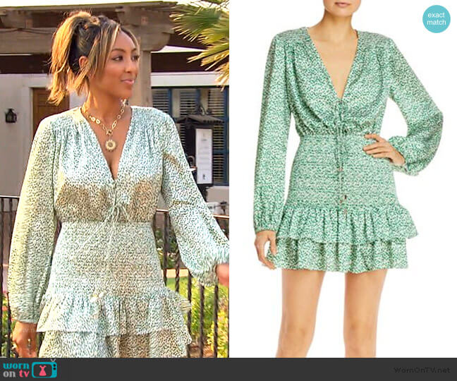Hedi Printed Smocked Dress by Significant Other worn by Tayshia Adams  on The Bachelorette