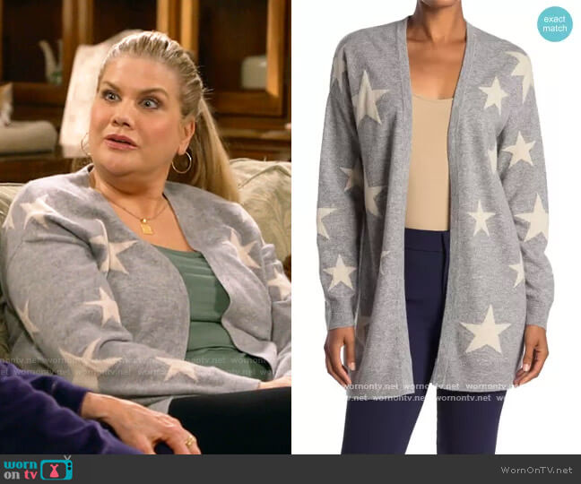 Star Open Front Cashmere Cardigan by Magaschoni worn by Tammy Diffendorf (Kristen Johnston) on Mom
