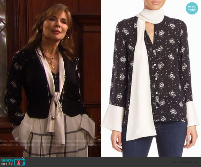 Stardust Rowan Silk Floral Top by Cinq a Sept worn by Kate Roberts (Lauren Koslow) on Days of our Lives