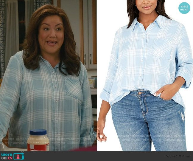 Plaid Shirt by Style & Co worn by Katie Otto (Katy Mixon) on American Housewife