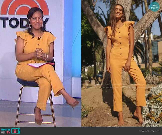 Sunny Day Dreamer Ruffled Button-Front Jumpsuit by Lulus worn by Sheinelle Jones  on Today