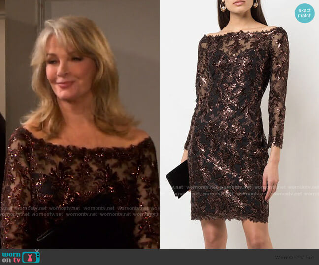 Bane Sequin Embroidered Dress by Tadashi Shoji worn by Marlena Evans (Deidre Hall) on Days of our Lives