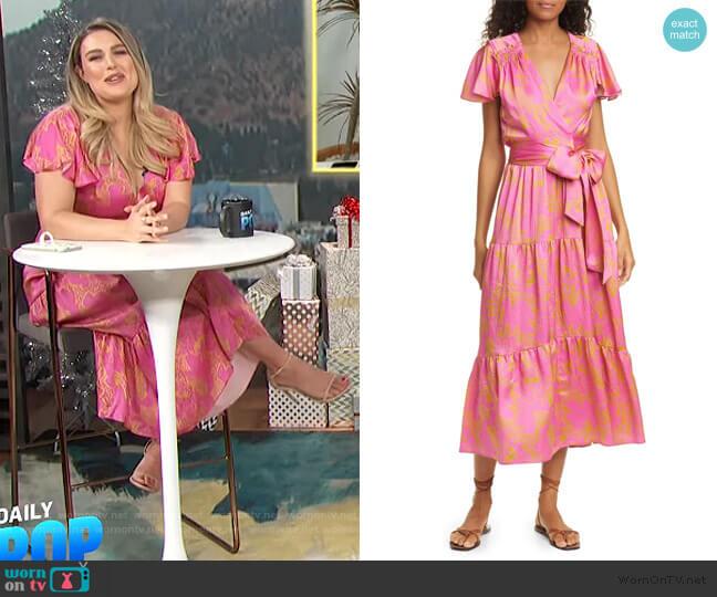 Liza Floral Silk Wrap Midi Dress by Tanya Taylor worn by Carissa Loethen Culiner  on E! News